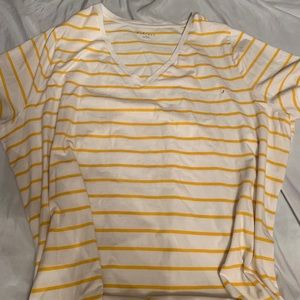 Ava & Viv yellow striped v-neck tee